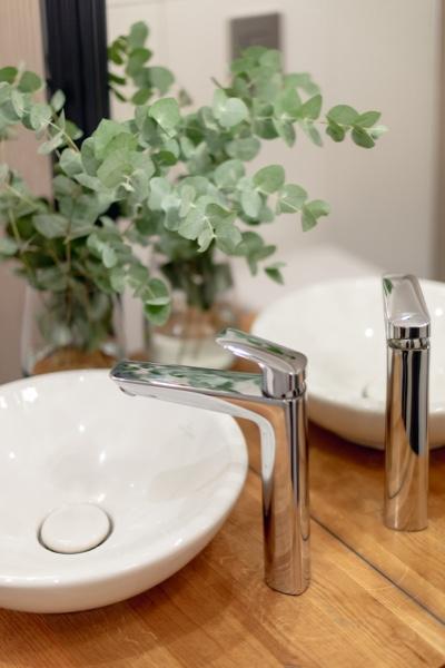 Kran i zlew w łazience dla gości